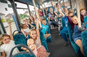 Children hop on board the Middlesbrough Reads literacy bus